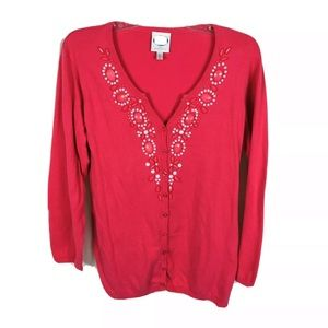 DG2 beaded cardigan sweater 3/4 sleeve